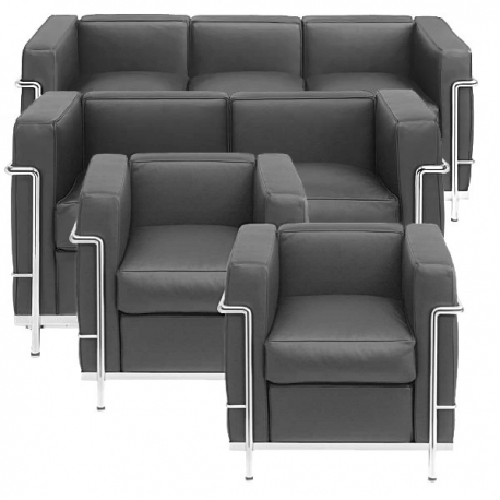 Group Le Corbusier 4 pcs upholstered furniture Bauhaus age