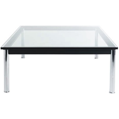 LC10 Metal Table By Le Corbusier, Glas Top